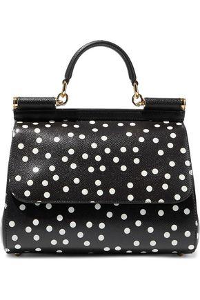 DOLCE & GABBANA Sicily polka-dot textured-leather shoulder bag