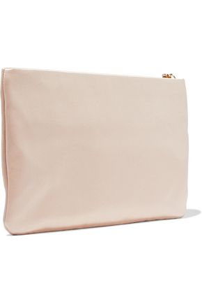 DOLCE & GABBANA Embellished snake effect leather-trimmed satin pouch