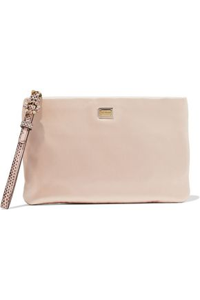 DOLCE & GABBANA Embellished leather-trimmed satin wristlet pouch