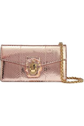 DOLCE & GABBANA Lucia snake-effect mirrored-leather shoulder bag