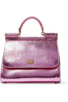 DOLCE & GABBANA Sicily metallic snake-effect leather shoulder bag