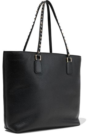 DOLCE & GABBANA Tasseled studded textured-leather tote