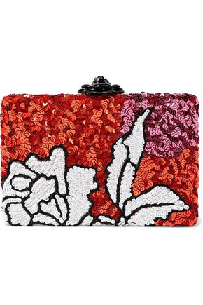 OSCAR DE LA RENTA Rogan sequined satin box clutch