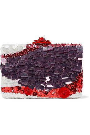 OSCAR DE LA RENTA Rogan floral-appliquéd sequined satin clutch