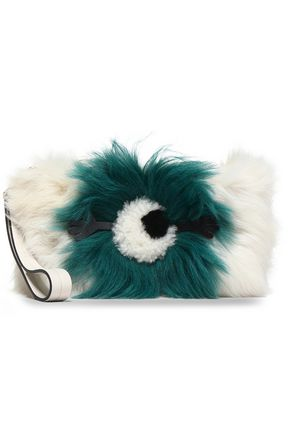 ANYA HINDMARCH Two-tone shearling clutch