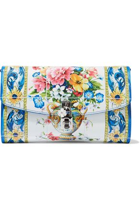 DOLCE & GABBANA Floral-print textured-leather clutch