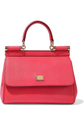 DOLCE & GABBANA Sicily lizard-effect leather shoulder bag