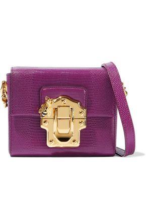 DOLCE & GABBANA Appliquéd lizard-effect leather shoulder bag