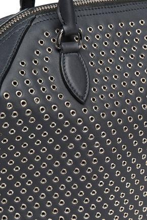 ALAÏA Eyelet-embellished leather tote