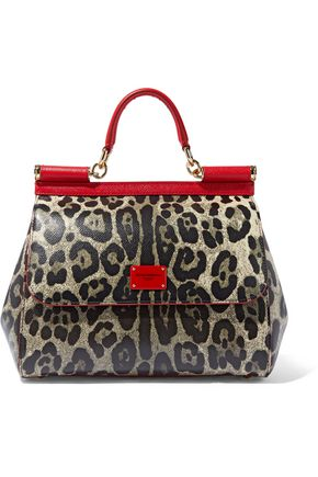 DOLCE & GABBANA Sicily leopard-print textured-leather shoulder bag