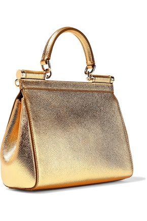 DOLCE & GABBANA Sicily metallic textured-leather shoulder bag