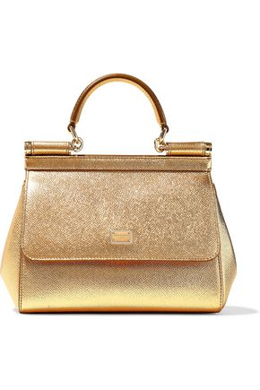 DOLCE & GABBANA Sicily metallic textured-leather shoulder bag
