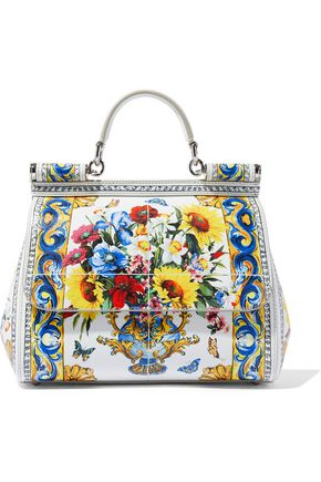 DOLCE   GABBANA Floral-print textured-leather shoulder bag c5968160377dd