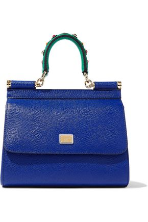 DOLCE & GABBANA Sicily studded textured-leather shoulder bag