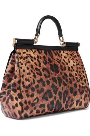 DOLCE & GABBANA Leopard-print textured-leather shoulder bag