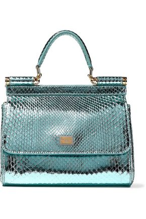 DOLCE & GABBANA Sicily mini mirrored-python shoulder bag