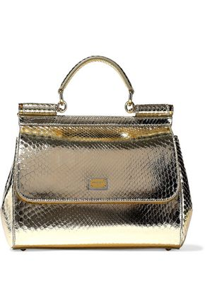 DOLCE & GABBANA Sicily metallic python shoulder bag