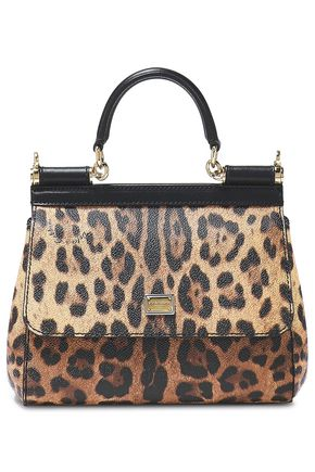 DOLCE & GABBANA Sicily leopard-print textured-leather shoulder bag