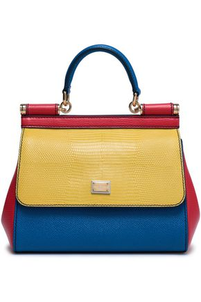 fea47ccc649885 DOLCE & GABBANA Color-block lizard-effect leather shoulder bag