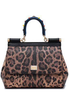 DOLCE & GABBANA Embellished leopard-print textured-leather shoulder bag