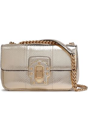 dadb095b80f0 DOLCE   GABBANA Lucia snake-effect metallic leather shoulder bag