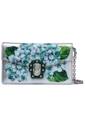 DOLCE & GABBANA Floral-print metallic textured-leather shoulder bag
