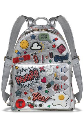 ANYA HINDMARCH All Over Wink Stickers printed metallic textured-leather backpack