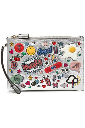 ANYA HINDMARCH Embellished metallic textured-leather wristlet