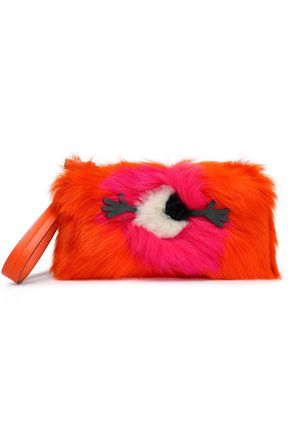 ANYA HINDMARCH Appliquéd printed shearling clutch