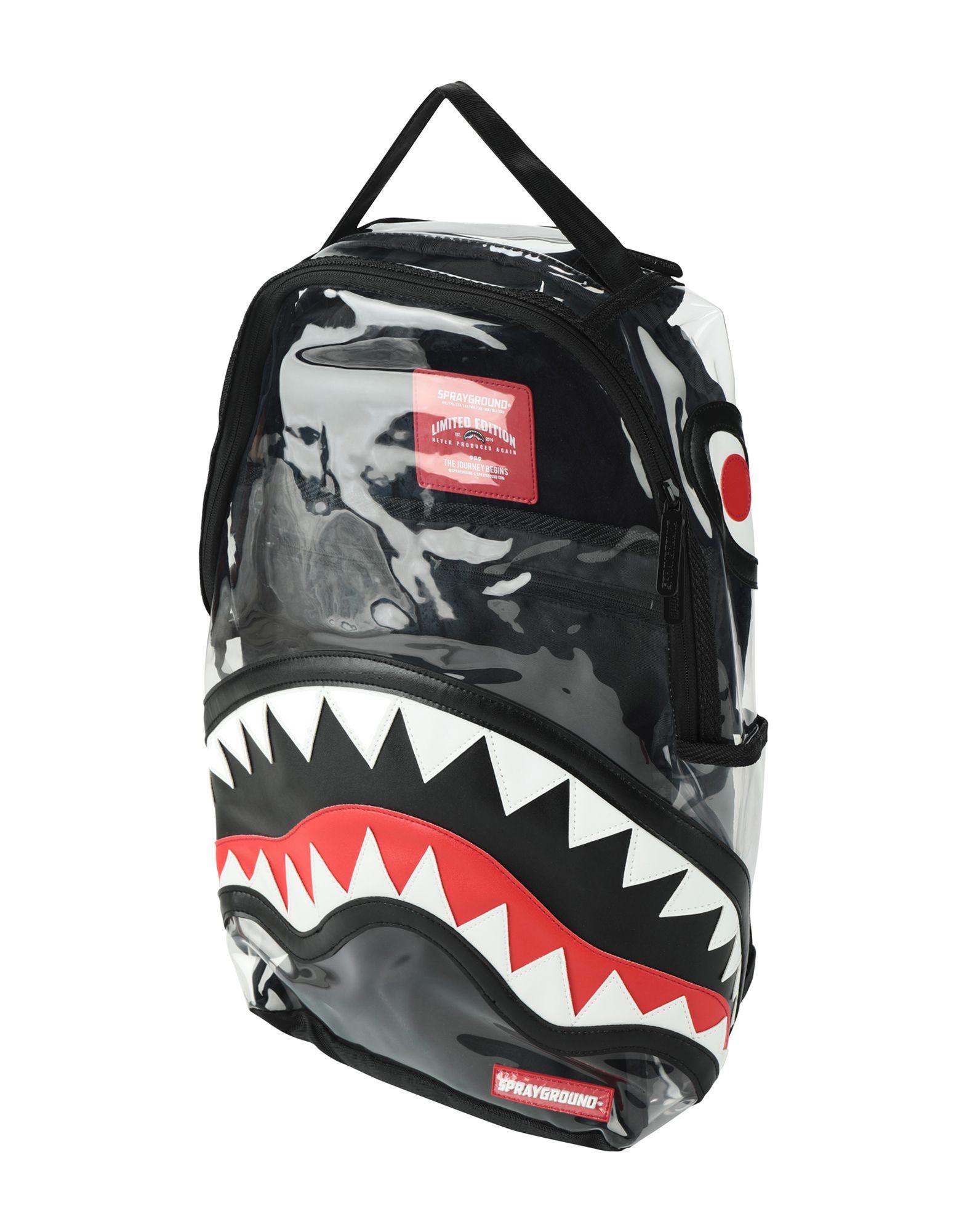 《送料無料》SPRAYGROUND Unisex バックパック&ヒップバッグ クリア 熱可塑性ポリウレタン 100% Clear PVC Shark