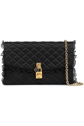 DOLCE & GABBANA Ruffled lace-trimmed quilted satin shoulder bag