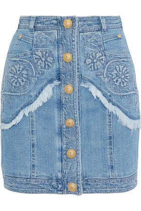 BALMAIN Frayed embroidered denim mini skirt