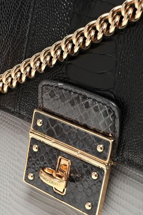 DOLCE & GABBANA Two-tone snake-effect leather shoulder bag