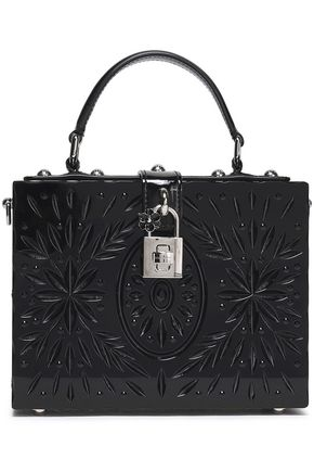 DOLCE & GABBANA Leather-trimmed embellished Perspex shoulder bag