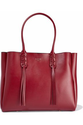 LANVIN Small Shopper fringe-trimmed leather tote