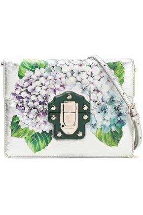 DOLCE & GABBANA Floral-print leather shoulder bag