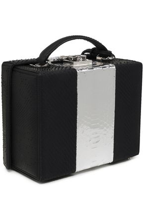 MARK CROSS Grace metallic-paneled paneled python shoulder bag
