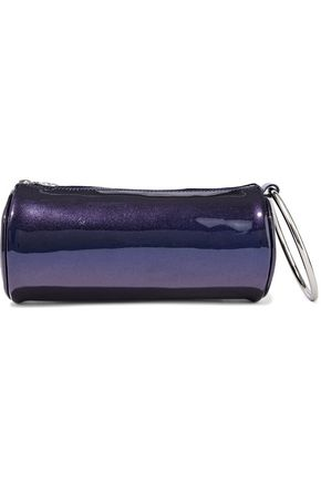 KARA Duffel metallic patent-leather clutch