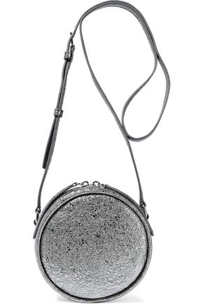 KARA Metallic cracked-leather shoulder bag
