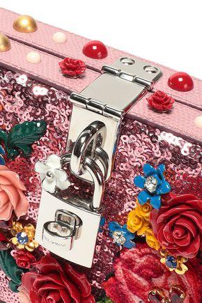 DOLCE & GABBANA Embellished lizard-effect leather clutch