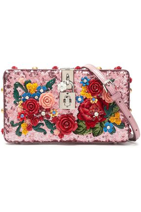 DOLCE & GABBANA Embellished lizard-effect leather clutch