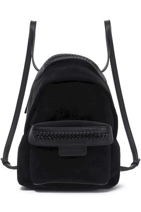 STELLA McCARTNEY Faux leather-trimmed velvet backpack