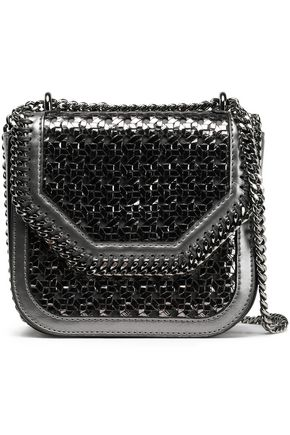 STELLA McCARTNEY Chain-trimmed metallic woven faux leather shoulder bag
