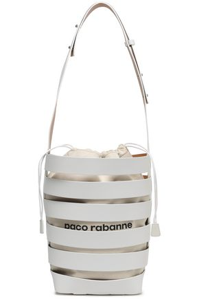 PACO RABANNE Printed cutout leather and canvas bucket bag