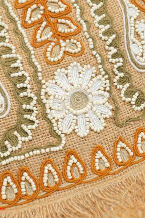 ANTIK BATIK Embellished embroidered jute shoulder bag