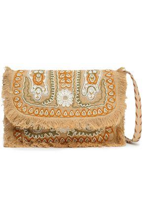アンティック・バティック 装飾付き 刺繍入り ジュート ショルダーバッグ