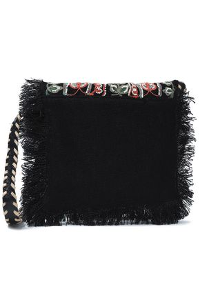 ANTIK BATIK Embellished embroidered jute shoulder bag