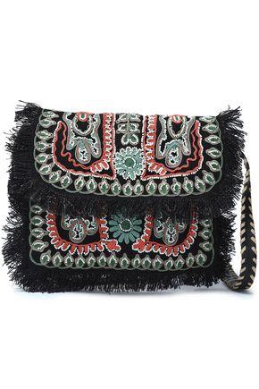 ANTIK BATIK 装飾付き 刺繍入り ジュート ショルダーバッグ