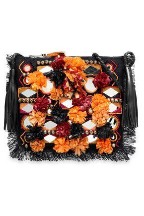 ANTIK BATIK 装飾付き 編み込みラフィア ショルダーバッグ