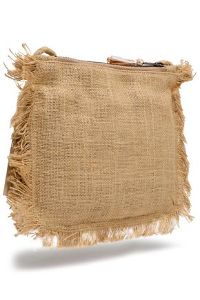 ANTIK BATIK Embellished woven raffia shoulder bag